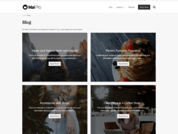 Archive with full-width layout, 2 columns, background image, showing title, excerpt, and more link.