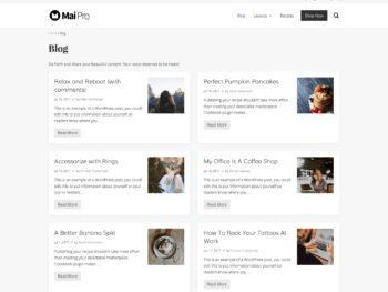 Archive with full-width layout, 2 columns, thumbnail image aligned right, showing title, meta, excerpt, and more link.