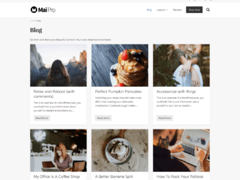 Archive with full-width layout, 3 columns, one-third image, showing title, excerpt, and more link.