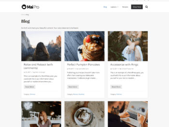 Archive with full-width layout, 3 columns, one-third image, showing title, meta, excerpt, and more link.