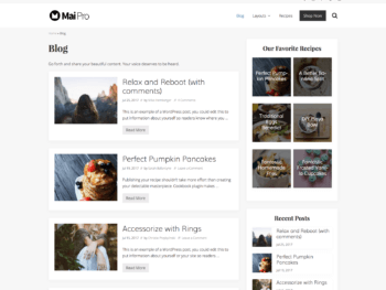 Archive with content-sidebar layout, no columns, and one-third image aligned left.